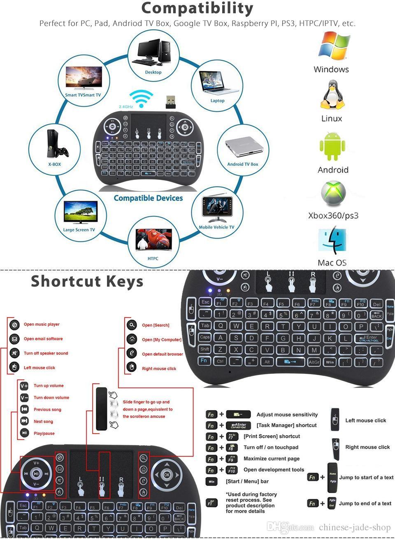 Mini Rii i8 Teclado Sem Fio 2.4G Air Mouse Touchpad Controle Remoto Retroiluminação Backlight para Smart Box TV Android Tablet Pc Inglês