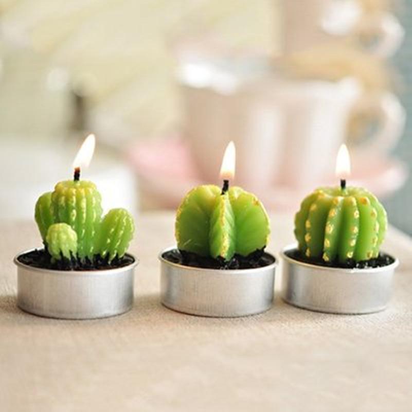 Home Decoration Rare Mini Cactus Candles Table Tea Light Garden Simulation  Plant Candle Wedding Decorative Candles Cute Velas L026 Candle Holder Wall  Decor ...