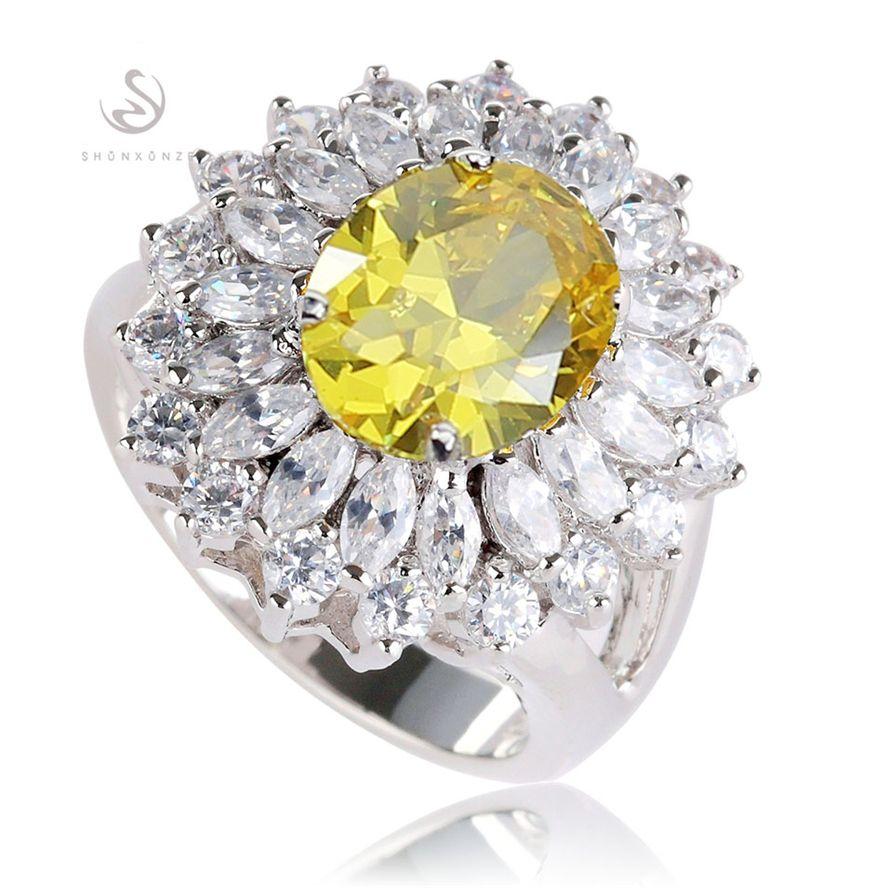 Edle großzügige Rock MNSz # 6 7 8 9 schöne gelbe Zirkonia Vintage Kupfer Rhodium Plated Punk Herz Set Ring / Ohrring / Anhänger