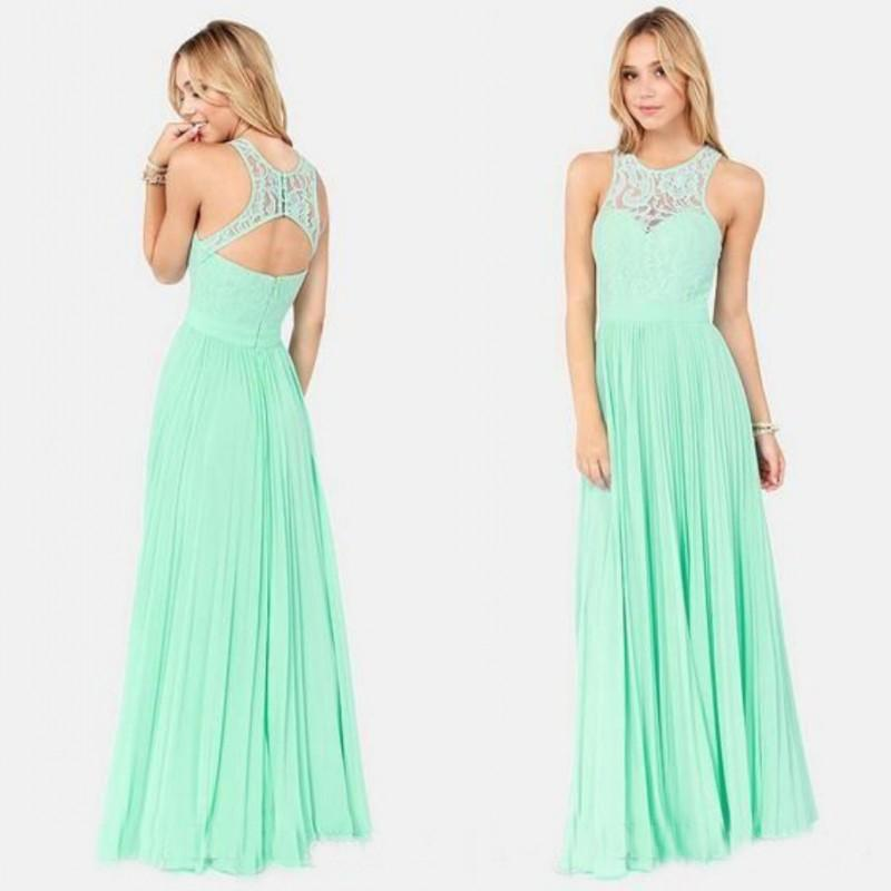 2015 Modest High Quality Aqua Green Prom Dresses Party Evening Gowns Lace Chiffon Beach Wedding Guests Gown Cheap Open Back Bridesmaid Uk