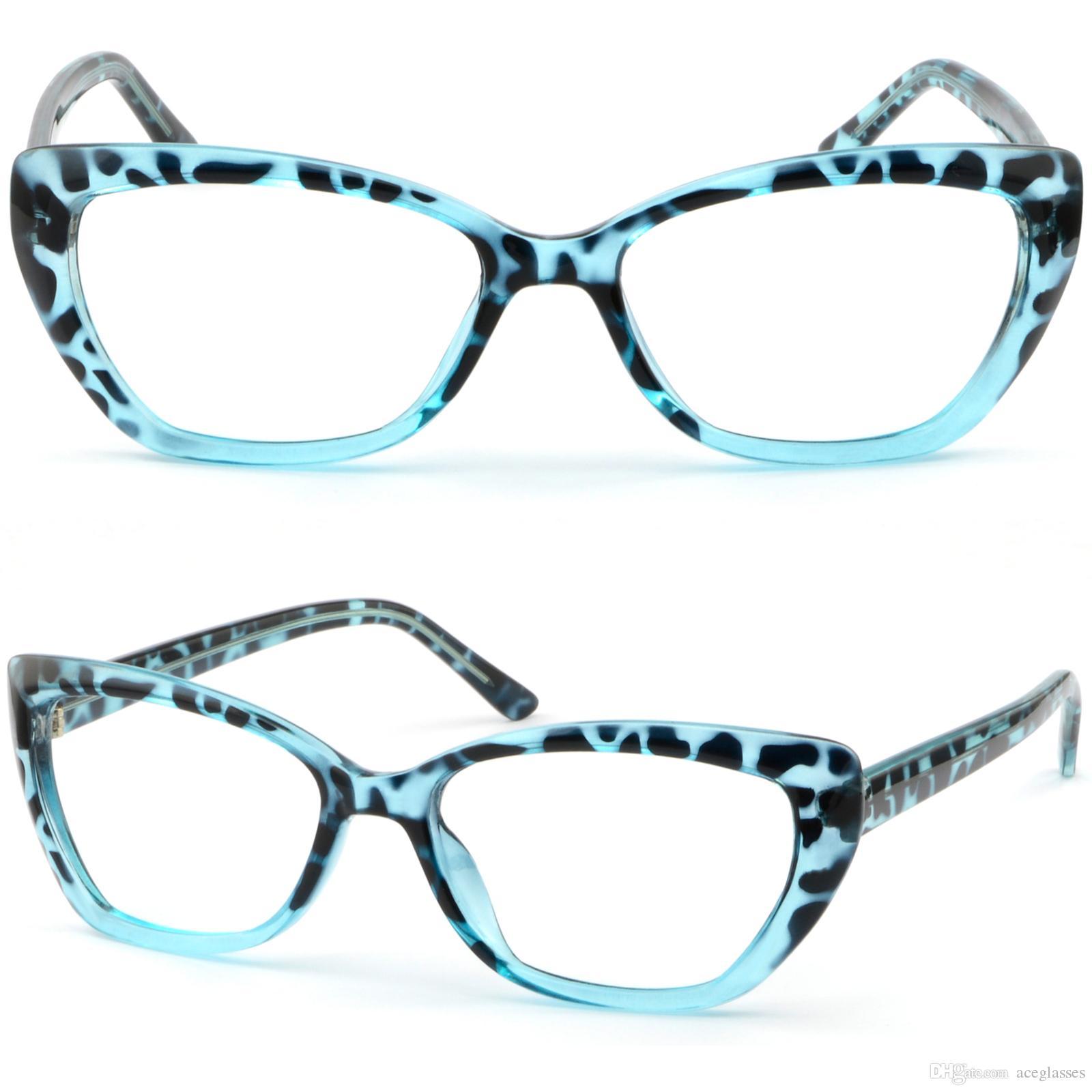 Compre Azul Claro Cateye Cat Eye Marcos De Plástico De Mujer Gafas ...
