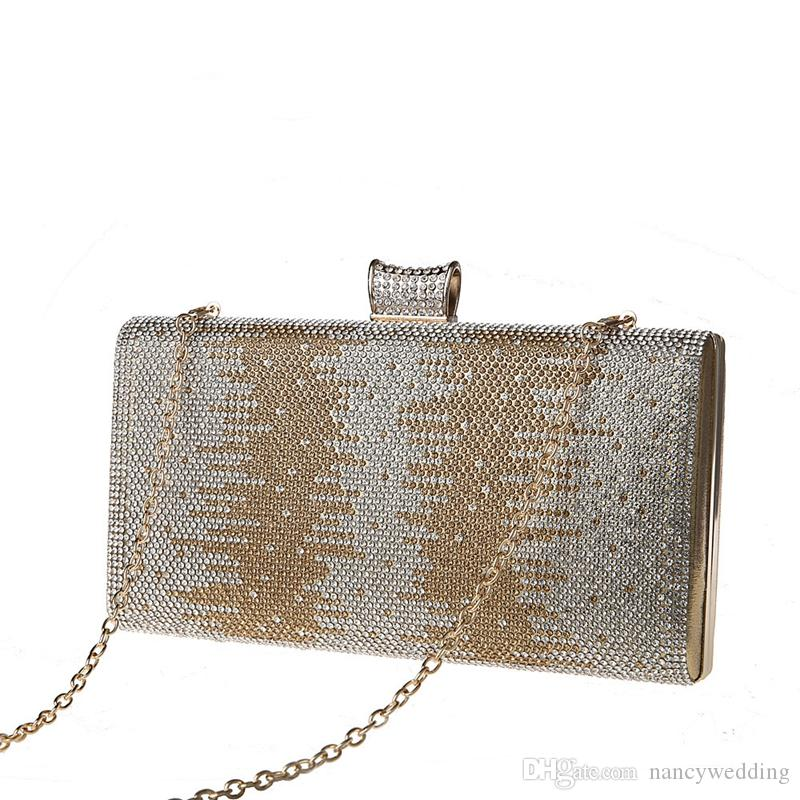 Rhinestone Buckle Fashion Party Bag Evening Clutch Bag Bridal Wedding Dress Handbag Lady Purse Mother of the Bride Bag