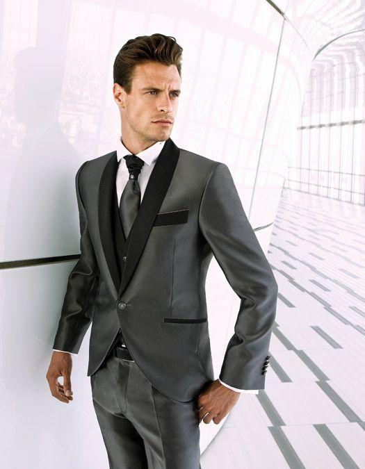 Charcoal Gray Mens Wedding Suit/Peak Lapel Groommens Suits/Wedding ...