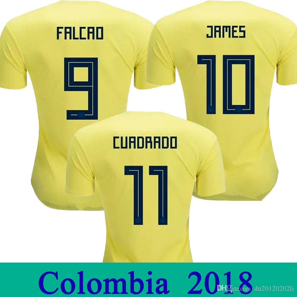 2018 World Cup Colombia Soccer Jersey JAMES FALCAO CUADRAD AGUILAR GUARIN  SANCHEZ Camiseta Home Yellow Colombia National Team Football Shirt Colombia  ... 8c0f99045
