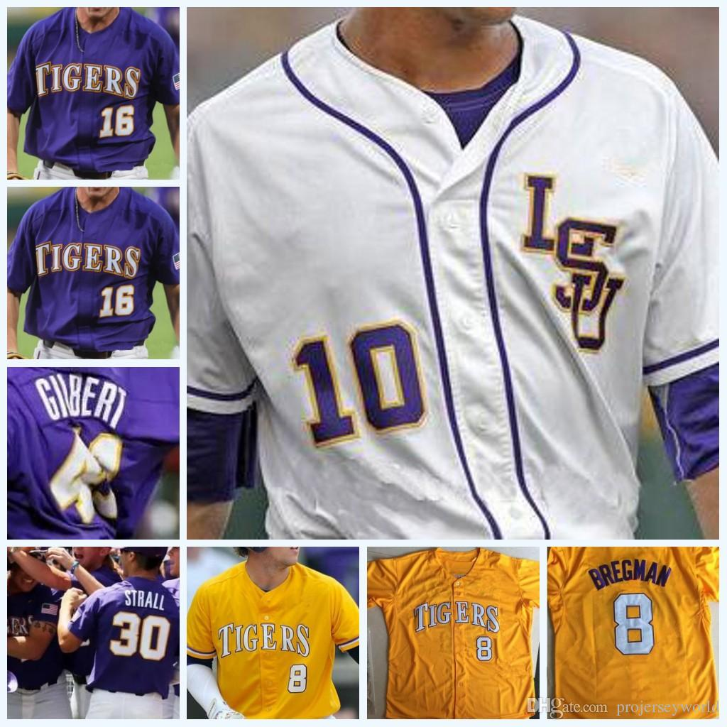 best sneakers a2068 eb090 LSU Tigers College Baseball CWS Purple Gold White DJ LeMahieu Alex Bregman  Nola Gausman All Stitched Any Name & ANY Number Baseball Jerseys