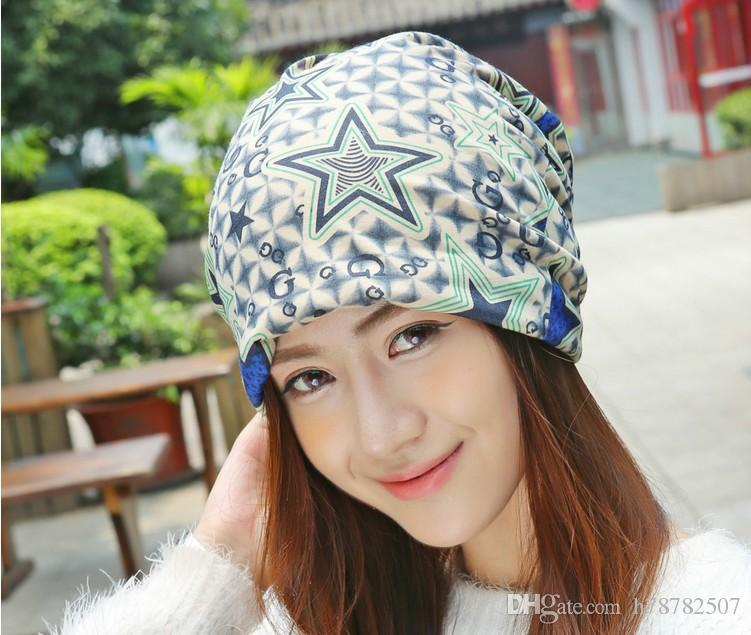 High Quality Cotton Beanies Winter Warm Hats For Women Korean new letter G five-pointed star pattern two uses piles caps Hot sale