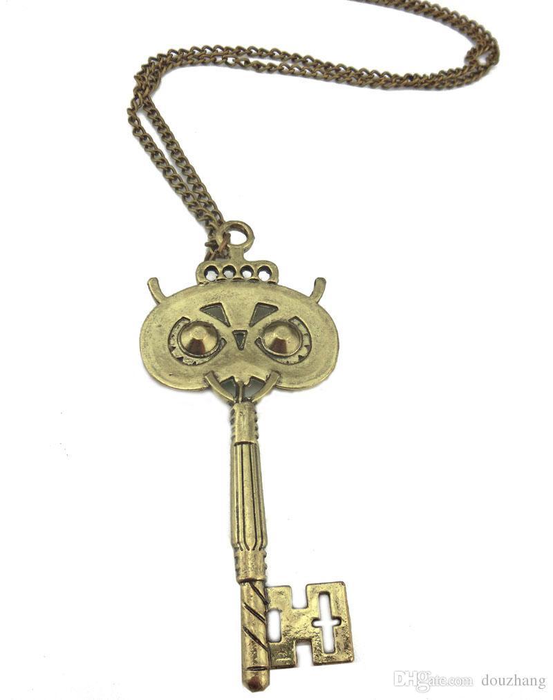 Women Vintage Retro Bronze Owl Key Pendant Necklace Chain Sweater Long Chain Animal Necklace Wholesale