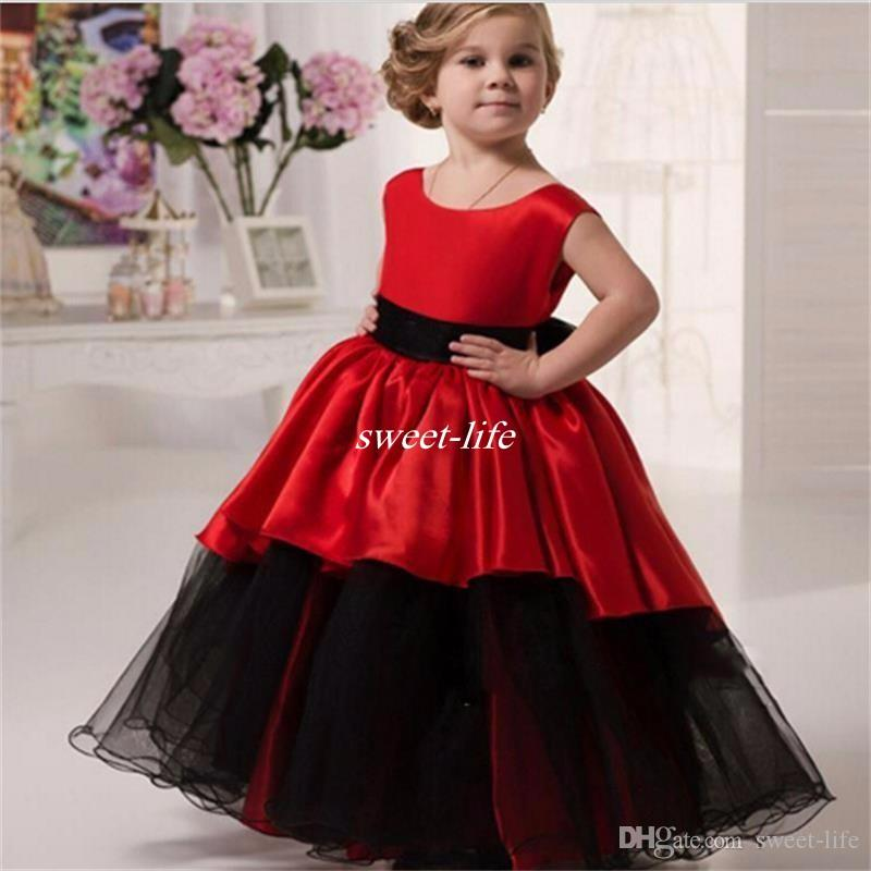 Lovely Black And Red Flower Girl Dresses for Wedding Ball ...