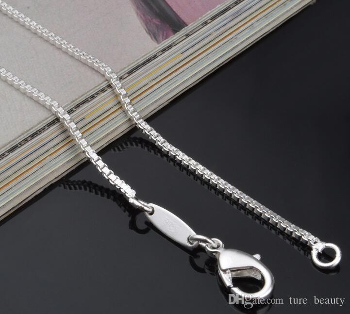 1.4MM Solid .925 Italian Sterling Silver Square Link Venetian Necklace Box Chain 16 18 20 22 24 INCH fashion jewelry /