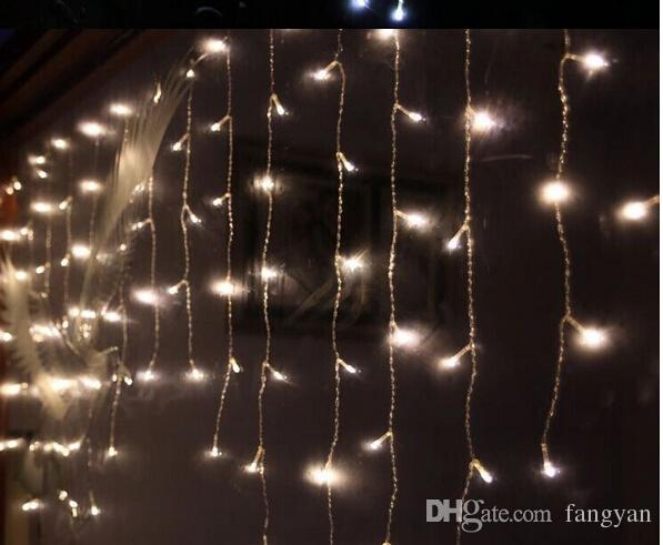 de 3,5 m de la inclinación de 0.3-0.5 reales 96LED cortina carámbano Luces de la secuencia de 110V-220V Año Nuevo Navidad luces LED de ahorro de energía a prueba de agua