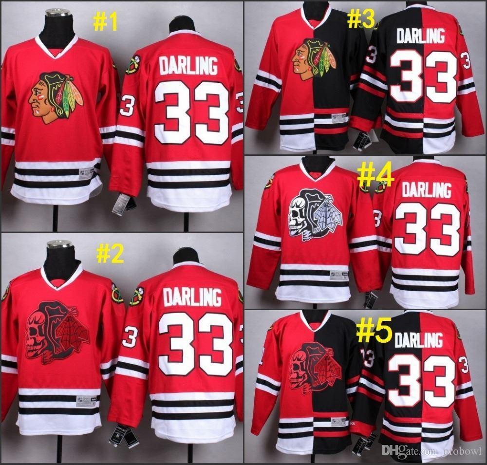 fbc59b64b6d ... online cheap 2015 chicago blackhawks 33 darling black red split red  skull ice hockey jerseys.