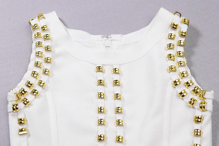Toptan- en kaliteli yeni varış beyaz kolsuz çivili boncuklu uzun maxi rayon bandaj elbise ünlü elbise kim kardashian elbise