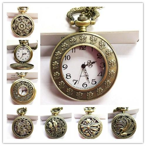 Vintage Bronze Pocket Watch Quartz Necklace Pendant Chain Wactches Clock Floral Antique Mine Hollow watches Mix style 100pcs/Lot