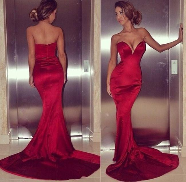 Burgundia Satin Mermaid Prom Dresses Sexy Niski Cut Sweetheart Sheet Suknia Wieczorowa Court Train 2014 Moda Tight Dress Specjalna okazja Dress