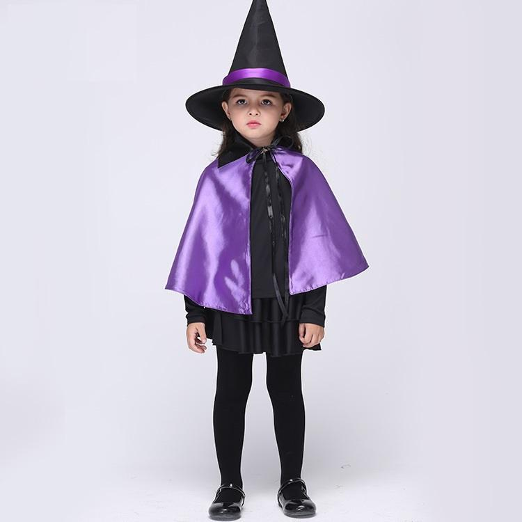 halloween costumes girlsu0027 purple cloak and dress witch costume dress and hat cap party cosplay clothing for kids performance clothing from xiongida