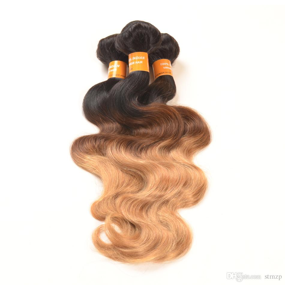 10-28inch Virgin Ombre Hair Body Wave Brazilian Hair Weave Ombre Hair Wefts T1B/4/3/4Bundles Brazilian Cheap Human Extensions