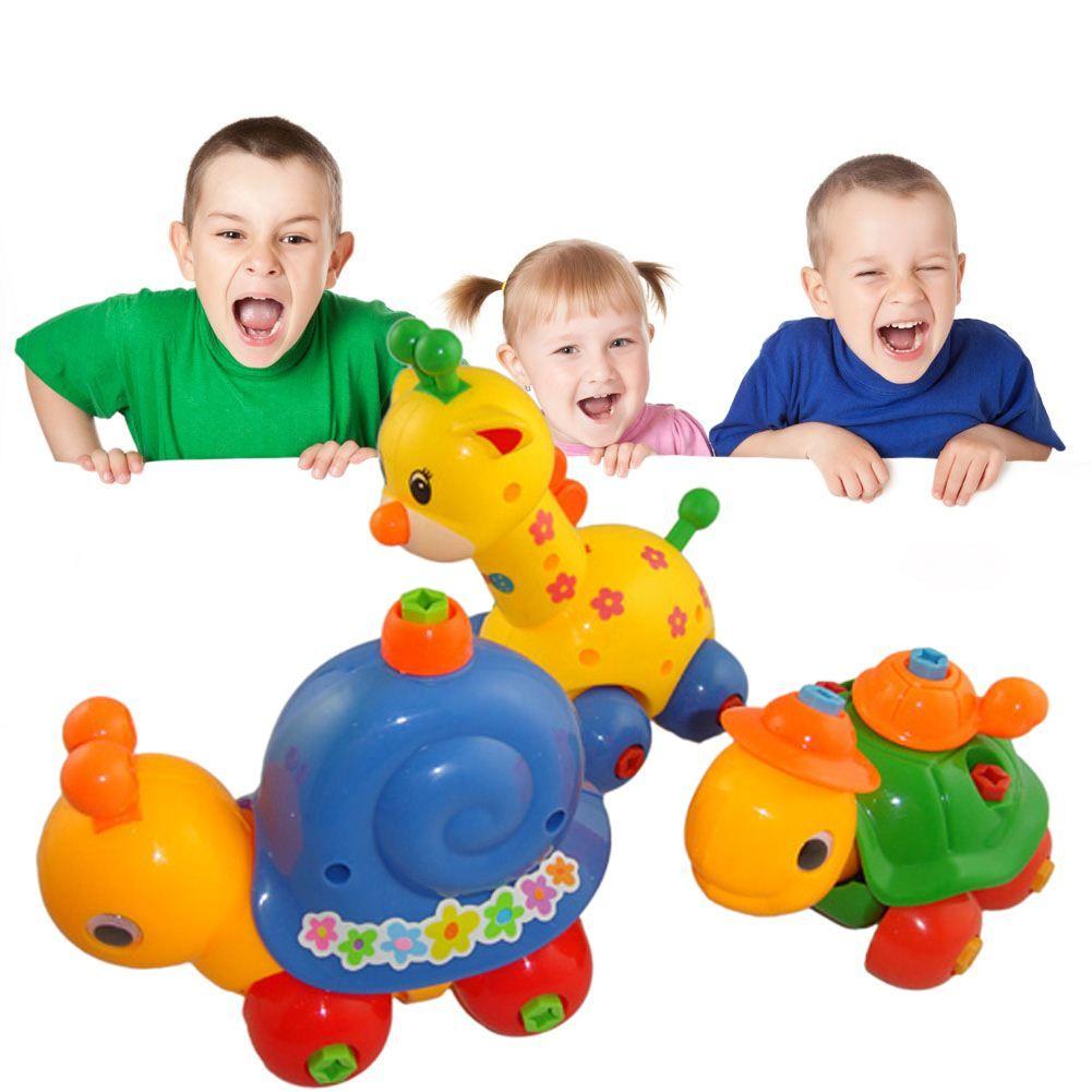 Kids Animal Puzzle Educational Toy Children Disassembly Assembly Cartoon Giraffe Snail Tortoise Rabbit Puzzle Toy Random Pattern