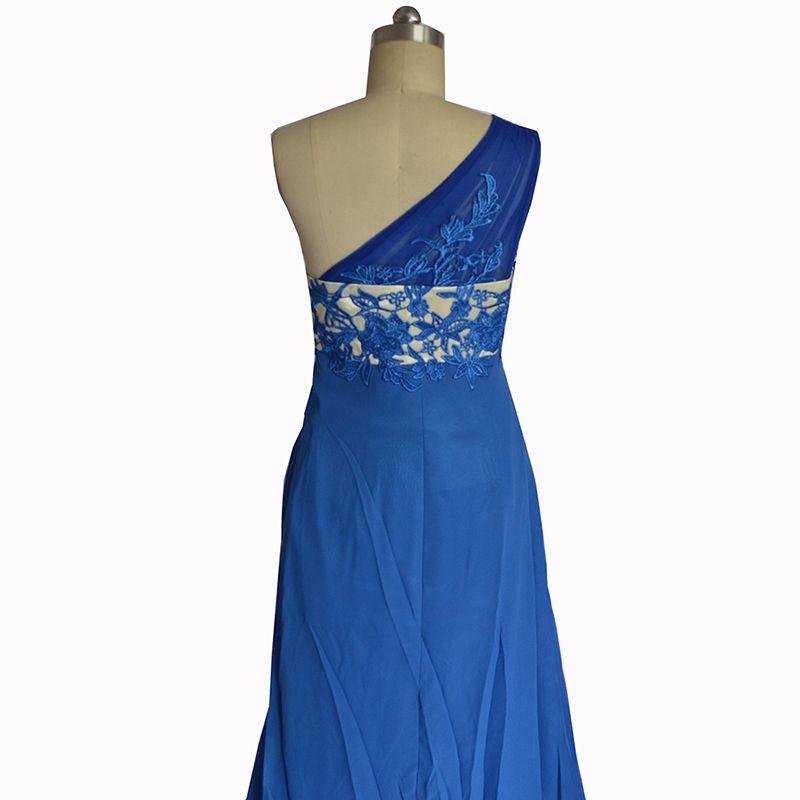 Vestidos para Laday Mujeres Invitados de la novia Vaina Un hombro Azul Apliques Vestidos formales Ropa de noche Vestidos de baile árabe 2018