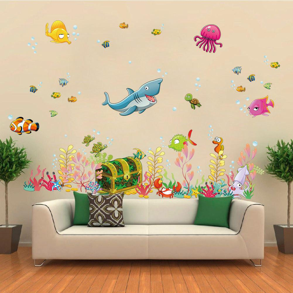 Underwater Sea World Wall Stickers Cartoon Fish Shark DIY Home Decor  Removable Waterproof Decoration For Childrenu0027s Room
