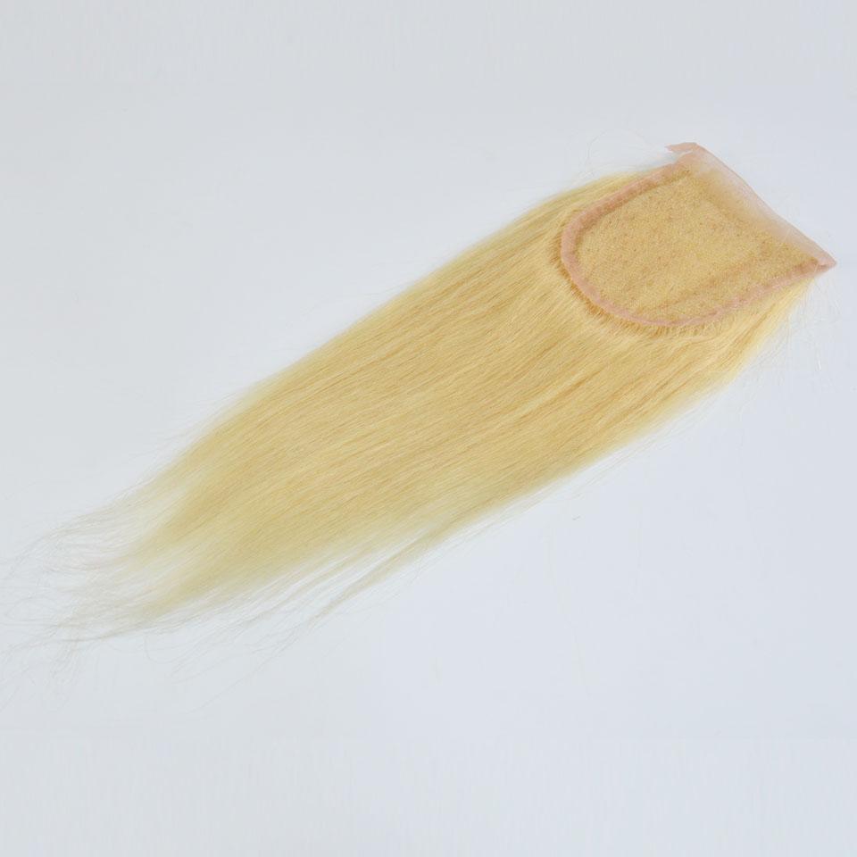# 613 표 백제 금발 레이스 클로저 4 * 4 인치 스위스 레이스 인간의 직선 머리카락 3 부분 / 중간 부분 / 무료 부분