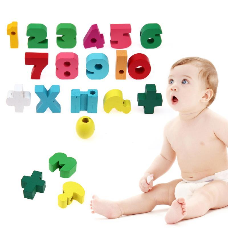 17pcs/lot Numbers Wooden DIY Beads Game Figures Styles Lovely Spacer Stringing Threading Beads Toy Kids Montessori Toys Blocks