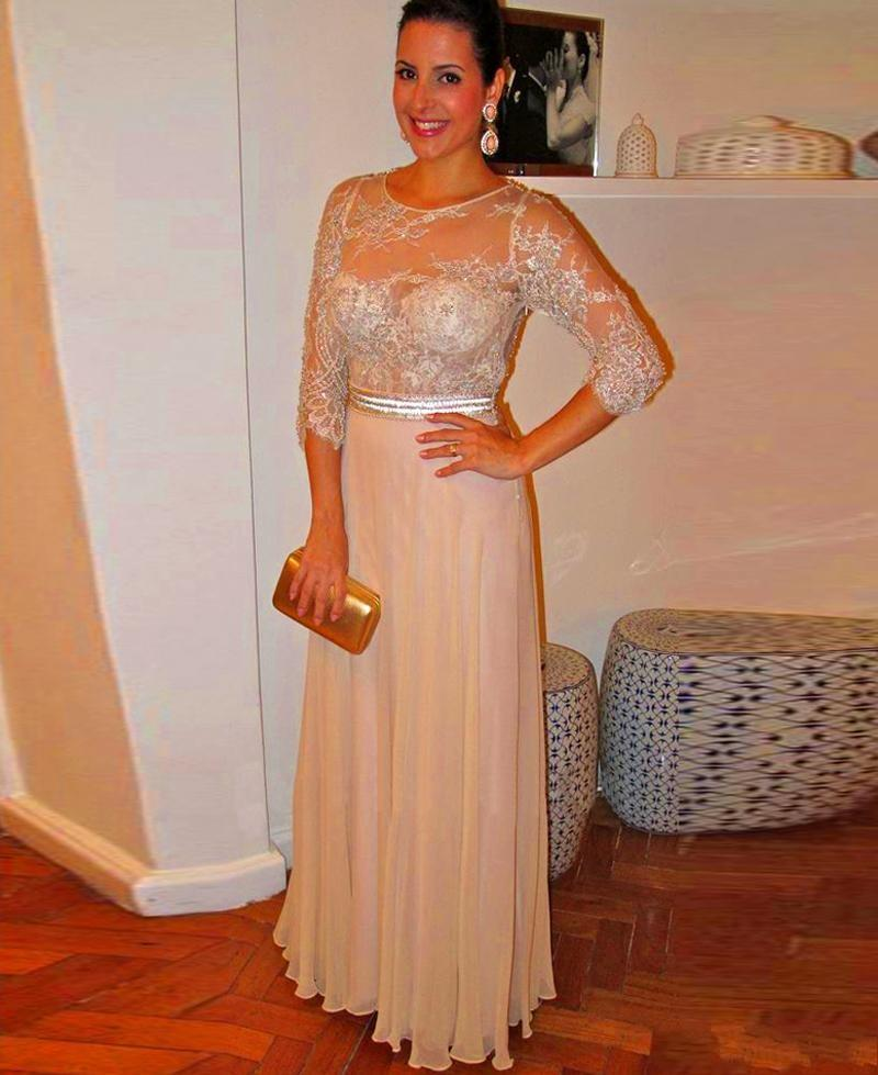 Long Sleeve Formal Evening Dresses with Sheer Neck Vestidos De Fiest Beading pageant Dresses A Line Floor Length Fashion Prom Gowns 2015