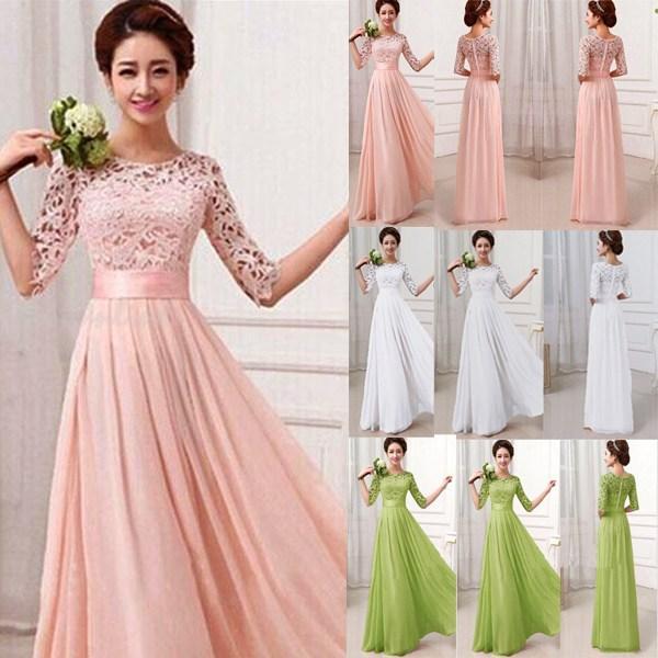 Retail 2015 Elegant Bridesmaid Dresses Women Half Sleeve Lace ...