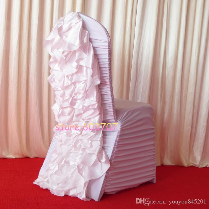 Sample Order Link: White Ruffled Style Spandex Chair Cover With Crush Satin Flower In The Back
