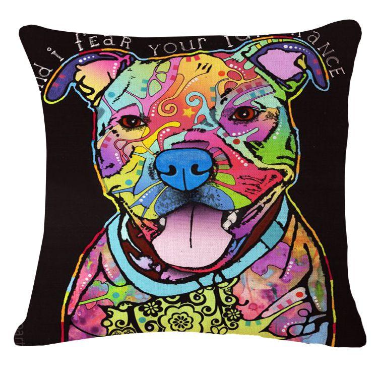 12 Styles Cute Coloful Pug Pet Bulldog Dog Home Decorative Pillowcases Throw Pillow Cases Cushion Covers Decorate Sofa Chair Throw Pillows