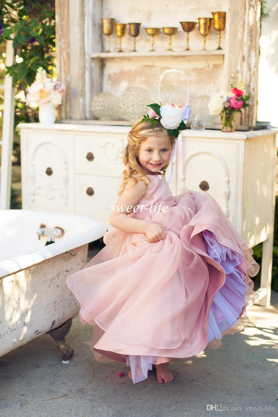 2019年かわいい花の女の子の服装のためのブラシオーガンザサシ蹄宝石の床の長さ安く子供のフォーマルなドレスジュニアブライドメイドのドレス