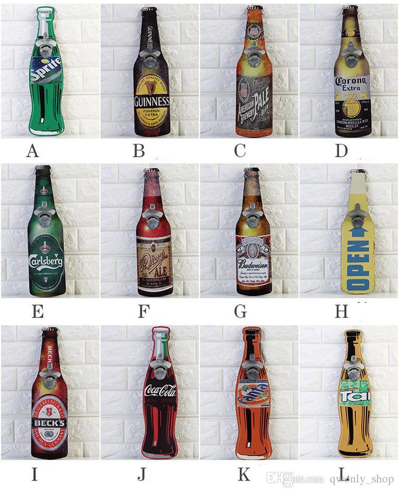 Wall Bottle Opener American Vintage Style Beer Opener Wall Mounted Wood Cap Catcher Creative Bar Wall Decorative Bottle Opener