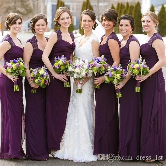 2017 Elegant Eggplant Purple Chiffon Bridesmaid Dresses Long Scoop ...