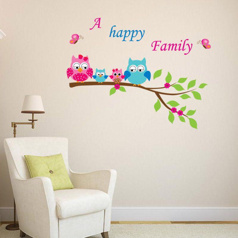 Corujas família feliz de quatro Decalque Adesivos Uma Família Feliz Arte Da Parede Murais Crianças Quarto Berçário Lettering Citação Parede Decoração de Casa