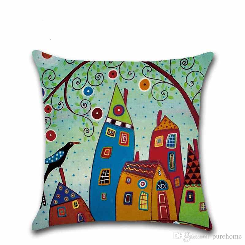 Cartoon Beautiful Country Series Pillowcase Linen Pillow Case Sofa Car Cushion Cover 45*45CM Home Cafe Office Decoration Gift for Friend