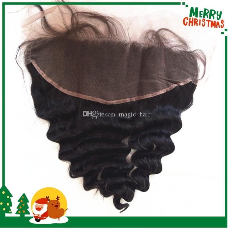 8A cierre frontal de encaje rizado peruano de onda suelta con 3 paquetes Lote 13 * 4 frontal completo de encaje frontal con tejido de cabello humano virgen