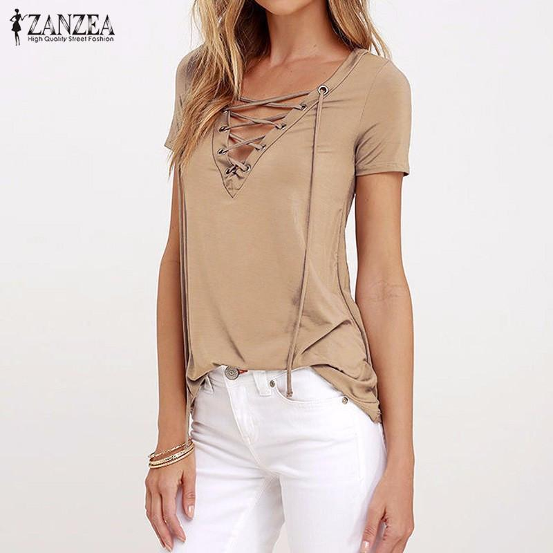 fe5e898d74e9 2019 Wholesale ZANZEA Women 2017 Summer Sexy V Neck Blouses Short Sleeve  Casual Hollow Out Lace Up Solid Shirts Blusas Tee Tops Oversized From  Erzhang