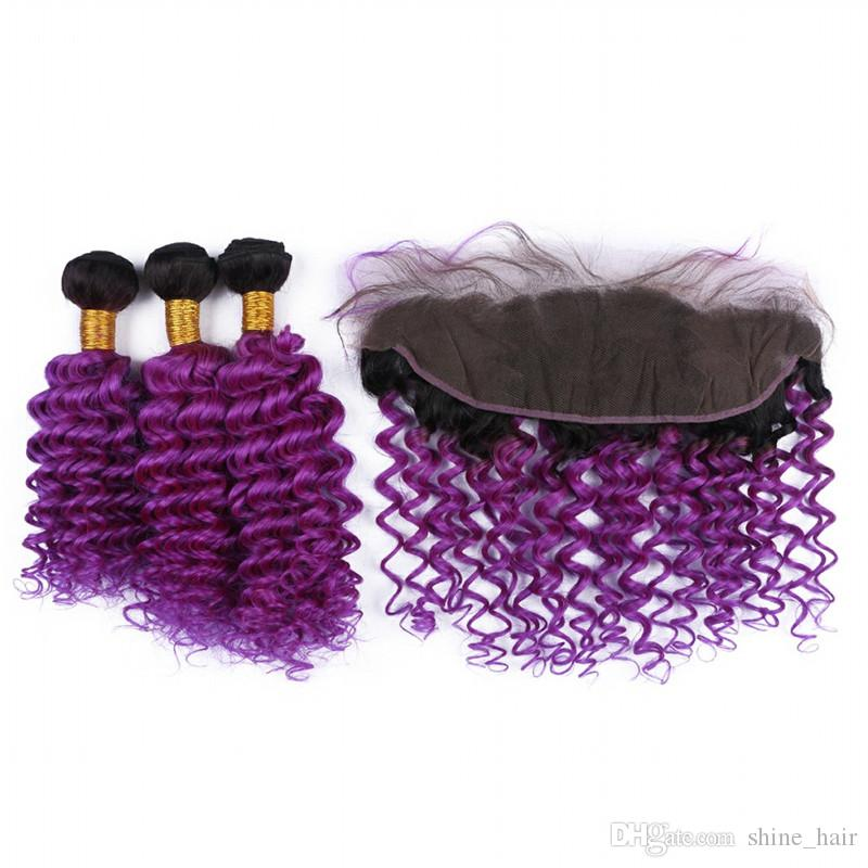 Dark Root Purple Ombre Peruvian Human Hair Weaves with Frontal Deep Wave 1B/Purple Ombre Full Lace Frontal Closure 13x4 with 3Bundles
