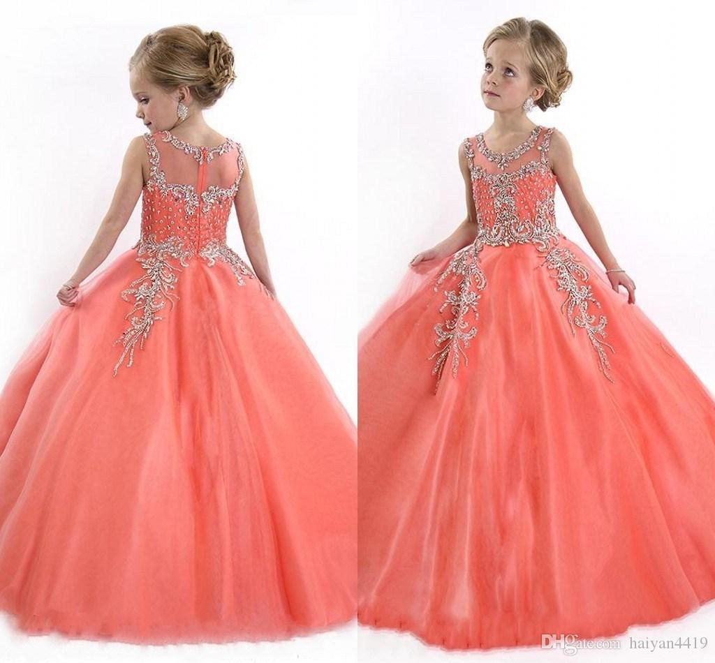 Cheap Little Girls Pageant Dresses Princess Tulle Illusion Jewel Neck Crystal Beads Coral Tulle Kids Flower Girls Dress Cheap Birthday gowns