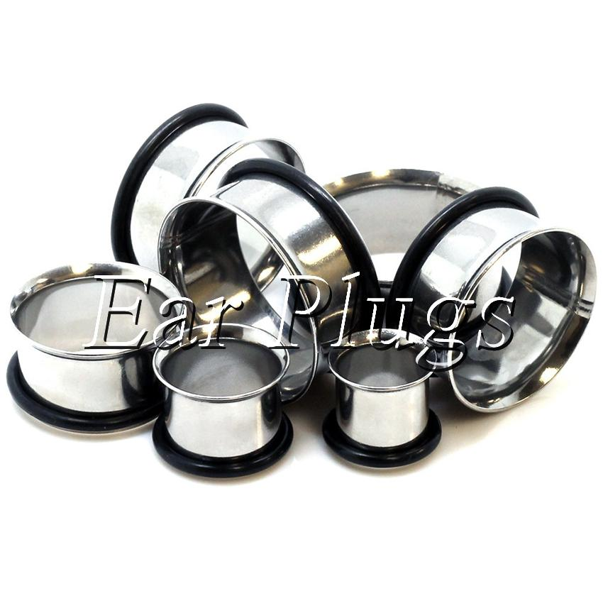Wholesale 4-16mm 8 sizes stainless steel single flared ear plug gauges flesh tunnel body piercing jewelry SSP0001
