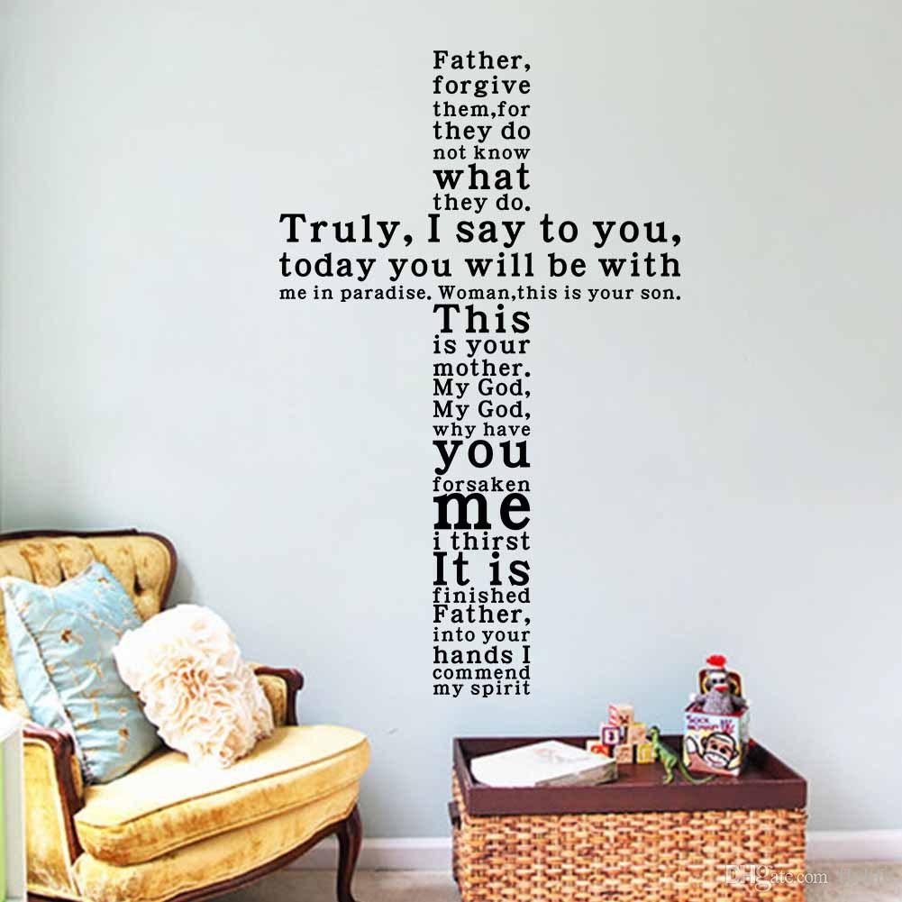 Decorative Wall Stickers god vinyl quote wall decal sticker christian religious cross wall