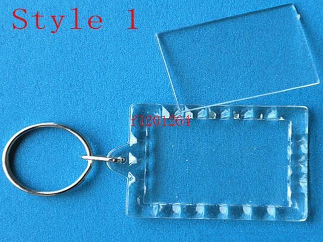 Newest DIY Acrylic Blank Photo Keychains Shaped Clear Key Chains Insert Photo Plastic Keyrings