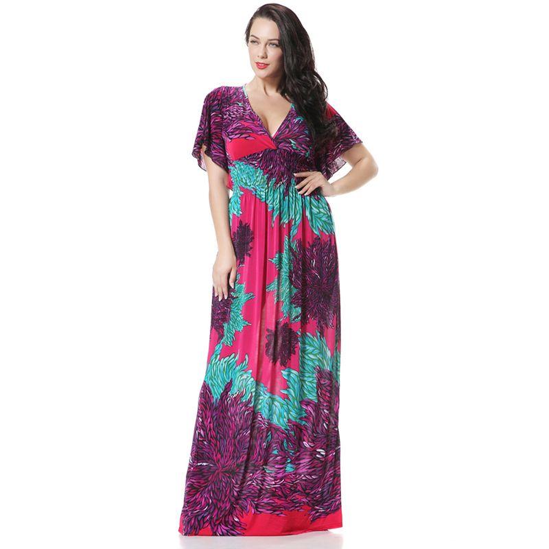 Ethnic Plus Size Maxi Dress From India Style Bohemian Flare Sleeve ...