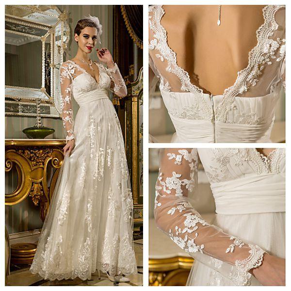 White Empire Waist Chiffon Wedding Dress 2015 With Sleeves Simple ...