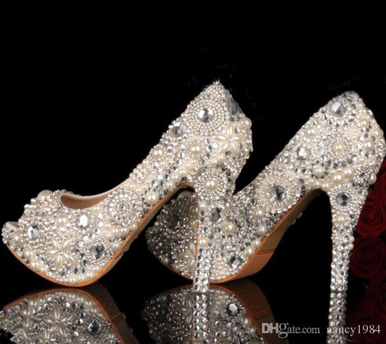 Unik Ivory Pearl Rhinestone Bröllopsklänning Skor Peep Toe High Heeled Bridal Skor Vattentät Kvinna Party Prom Skor Plattformar Bankett