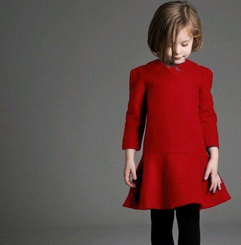 Christmas Red Wool Bends Dresses Kids Girl Winter Elegant ...
