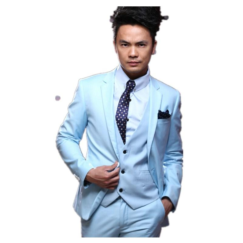 Handsome Young Man Suits Performance Costume Three Piece Suit Groom ...