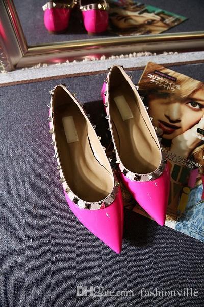 Verkauf! b050 34/40 echtes leder v stud ballerinas blau schwarz nude rot gelb rosa pink luxus designer runway klassische mode frauen