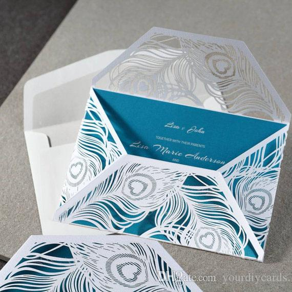 New Coming 2016 Stylish Laser Cut Peacock Feather Wedding Invitation Card  With Die Cut Peacock Feather