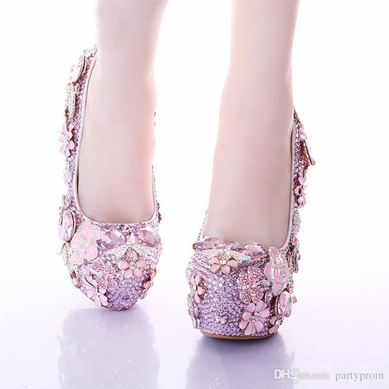 Newest Fashion Pink Wedding Dress Shoes Luxury Bridal Shoes Crystal Rhinestone Shoes Handmade Unique Design Shoes