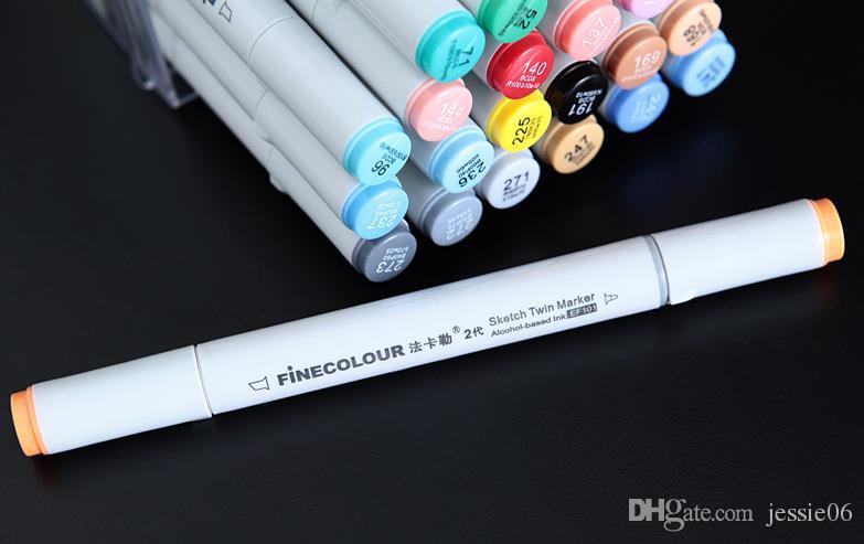 2 세대 finecolour 마커 무료 선물 펜 가방을 선택을 위해 펜 그림 FINECOLOUR 펜 스케치 손으로 그린 예술 펜
